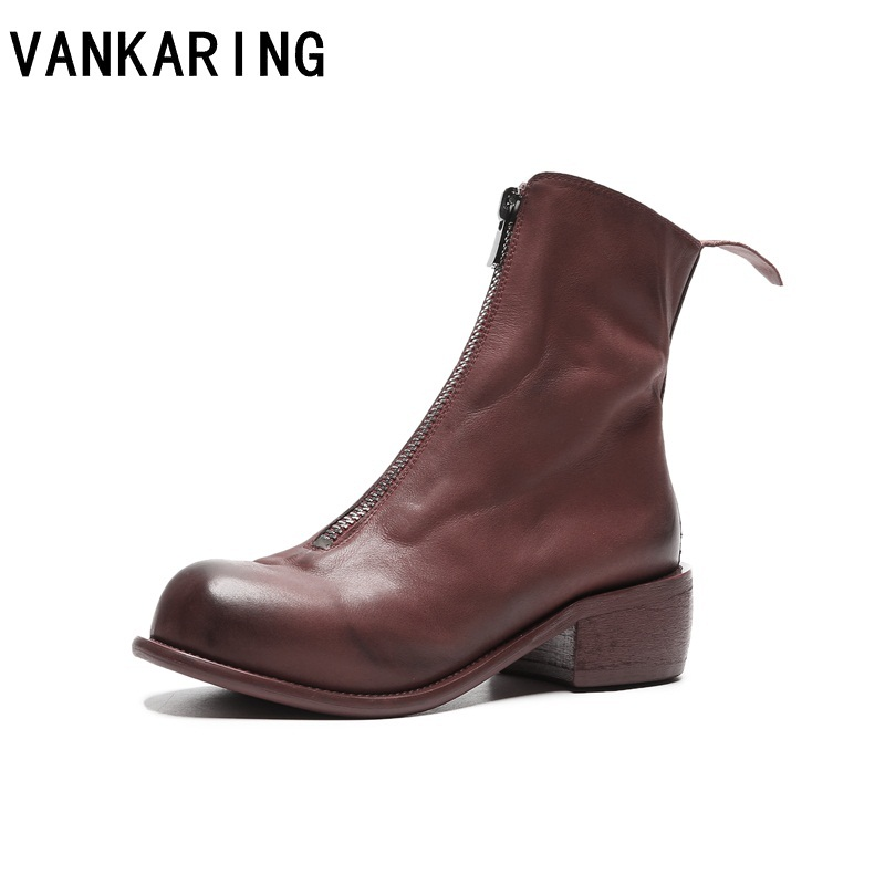 VANKARING brand shoes Retro leather ankle boots for women platform chunky high heel round toe superstar autumn winter wide boots все цены