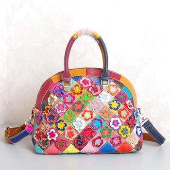 828  New Fashion Tide Female Cowhide Leather Handbag Handmade Flowers Inclined Shoulder Bag Ladies Totes