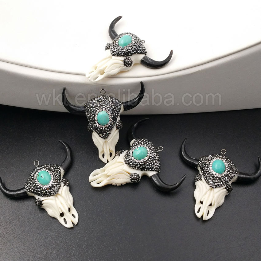 WT NP250 Amazing Gorgeous Natural buffalo bone carved cattle head horn pendant Fashion rhinestone paved cattle