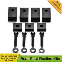 Nero Alluminio Posteriore Sedile Reclinabile Kit con Bulloni e Rondelle per Jeep Wrangler JK JKU Unlimited Rubicon Sahara X Sport interni