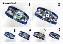24 шт/лот (смешанные 6 моделей) синий и белый фарфор круглый