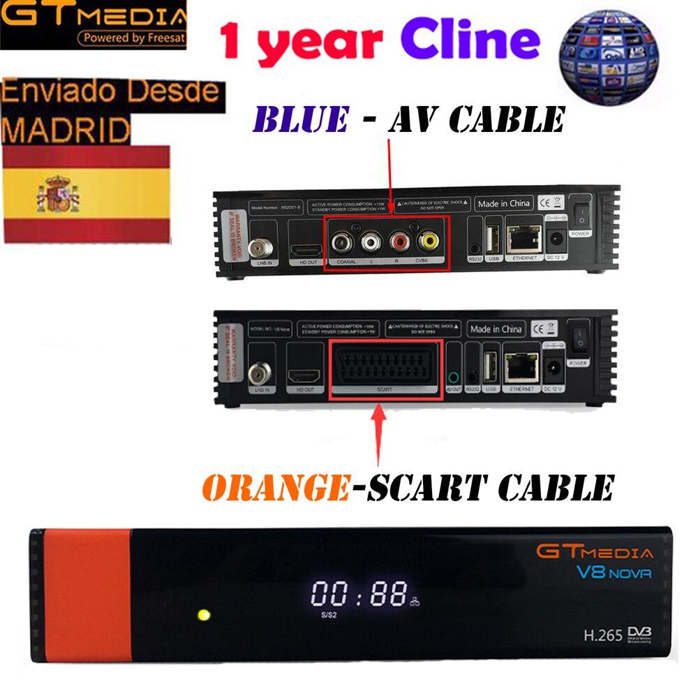 GTMEDIA V8 NOVA Bleu/orange 1 année europe ccam récepteur satellite DVB S2 Soutien Intégré WIFI Ethernet puissance vu biss c * suis v20
