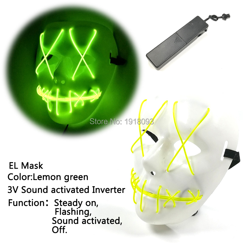 2019 New Type DC-3V Sound Active Driver+Lemon Green EL Wire Mask Novelty Lighting  Halloween Funny LED Mask Novelty Lighting