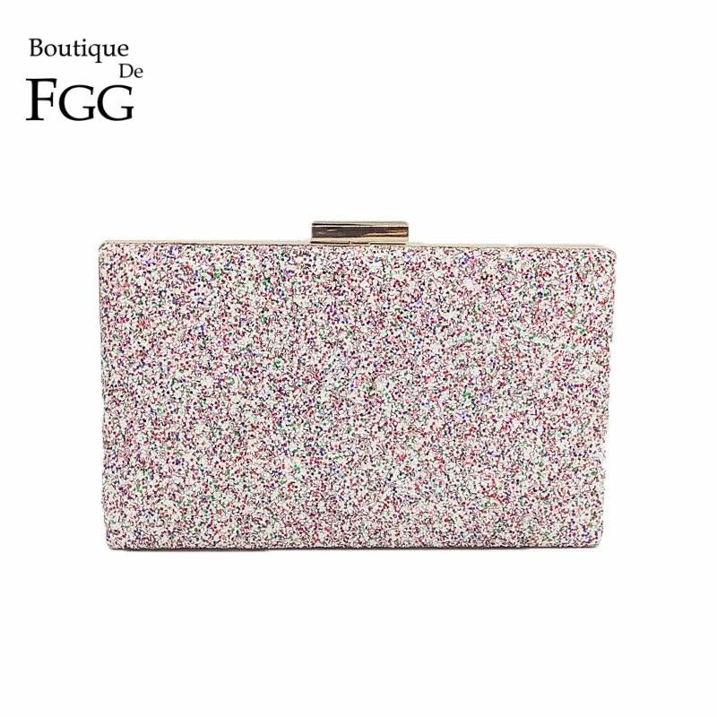 Boutique De FGG Dazzling Pink Multi Glitter Women Evening Clutches Handbag Wedding Party Dinner Metal Day Clutch Purse Bag charming dazzling lipstick pink 8ml