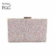 01553ad857 Boutique De FGG Dazzling Rosa Multi Glitter Donne Pochette Da Sera Borsa  Festa di Nozze Cena. 6 Colore