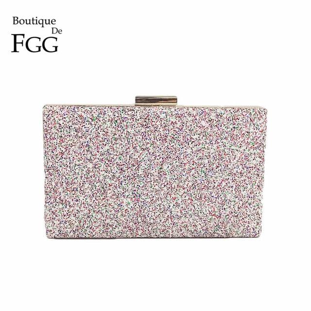 80ad33ece Boutique De FGG Dazzling Rosa Multi Glitter Mulheres Embreagens Noite Saco  Bolsa Dia de Embreagem Bolsa