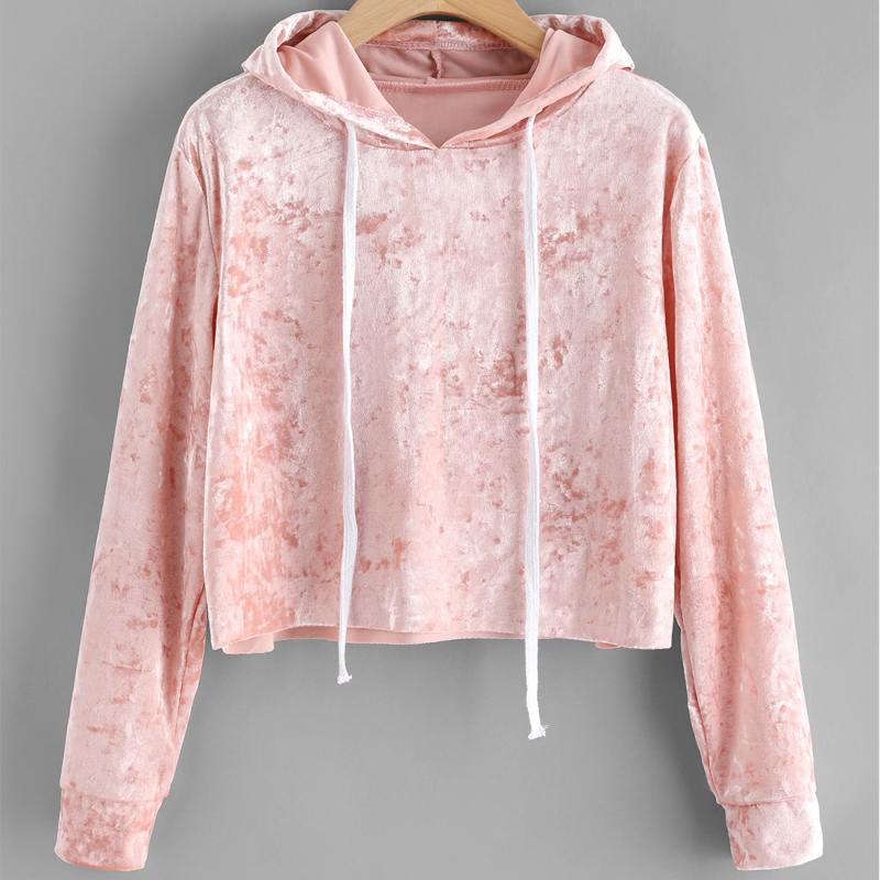 NEW Autumn Women Hoodied Sweatshirt Female Velvet Long Sleeve Pullover Streetwear Hoodies Ladies Solid Color Clothes