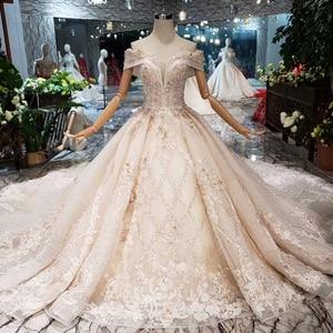 Image 5 - HTL154G1 צבע לבוש הרשמי כבוי כתף מתוקה applique תחרה שמלת ערב ארוך כלה שמלת מסיבת kleider דמן abendkleid