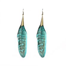 Women's Earrings Vintage Alloy Long Natural Feather Bohemian Indian Ethnic Earring Jewelry