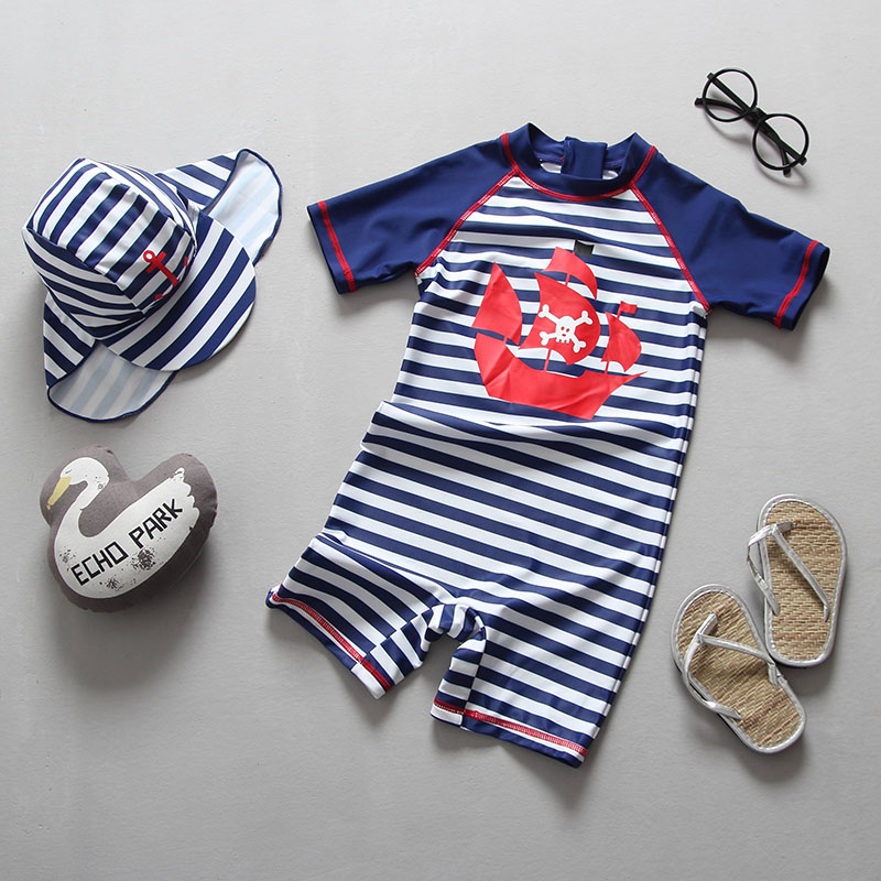 2018 Swimwear Boy One Piece UPF 50+ Striped Children Swimsuit for Boys Baby Beach Wear Bathing Suits Kids Swimming Pool Clothes