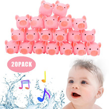 5Pcs 20PCS Vinyl Toy Teether Rubber Pig Baby Bath Toy Shower Toy for children rubber duck bad speeltjes 2019 F1