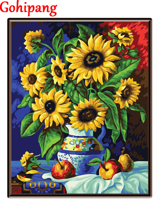 Vas Bunga Matahari Diy Lukisan Minyak Dengan Angka Kanvas Gambar