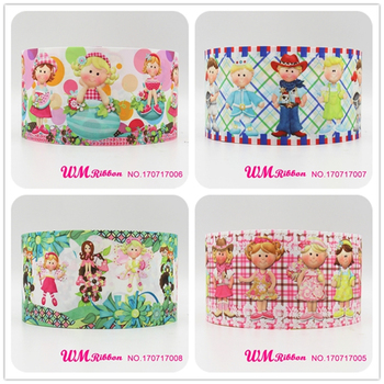 Q&N ribbon 3inch 75mm cartoon girl printed grosgrain ribbon webbing 50yards/roll for headband free shipping