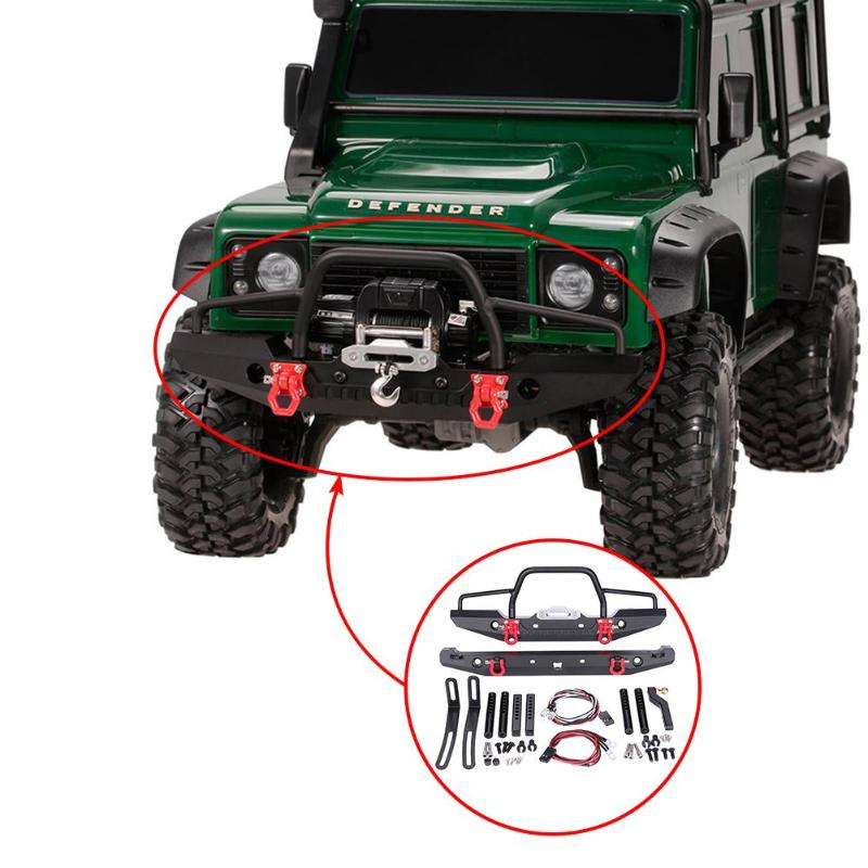 1 10 RC Rock Crawler Metal Front Bumper with Led Light for Axial SCX10 9004 High Quality RC Parts Accessories for RC Crawler in Parts Accessories from Toys Hobbies