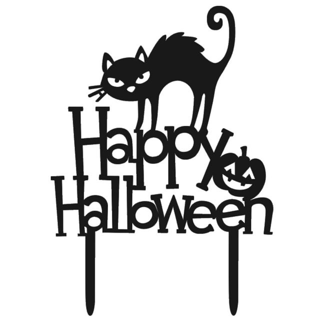 Nhbr Gato Negro De Halloween Calabaza Carta Ingles Set Torta