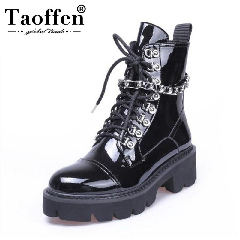 Cuero Tacón Negro Plataforma 39 Invierno Gótico De Botas Tamaño Las Alto  Taoffen Tobillo Mujer 34 Diseñador Patente Zapatos Mujeres nUCvIxgP 7d14cd406f99