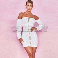 Cuerly 2019 Summer Women Fashion Solid Casual Regular Long Sleeve Sexy Club Slash neck Bangdage Sheath Dresses Vestidos