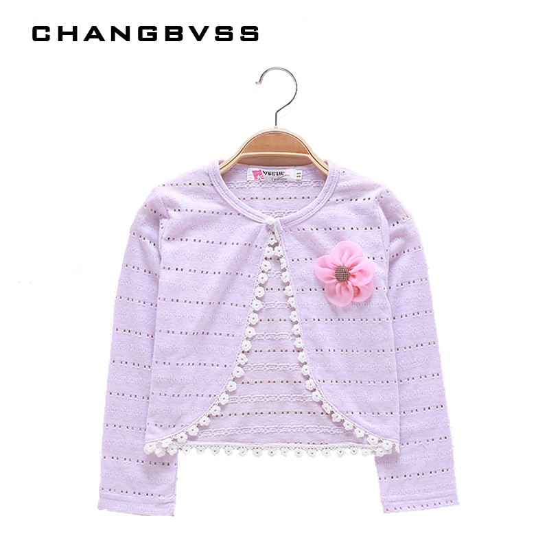 Thin Cotton Cardigan For Girls Full-Sleeve Girls Cardigan 2-8T Top Girl Clothing Sweaters Summer Knitting Kids Outer Wear Jacket цена 2017