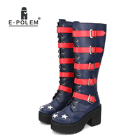 new lolita boot shoes punk boots Lolita thick bottom platform boots star pattern belt decoration 8920