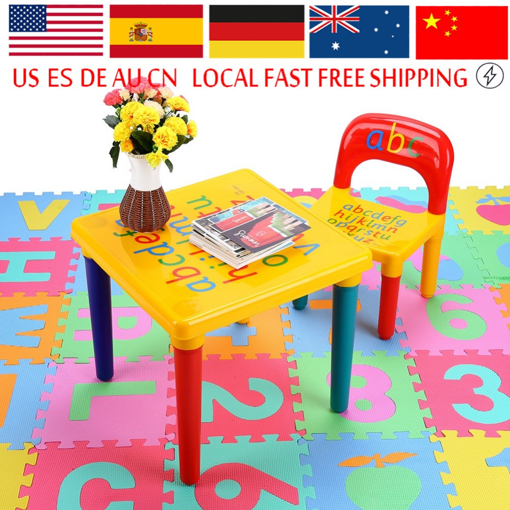 Furniture 1pc Premium Plastic Diy Kinder Table And Chair Set With Colorful Alphabet Kinder Study Table Activity Fun Child Toy Children Tables