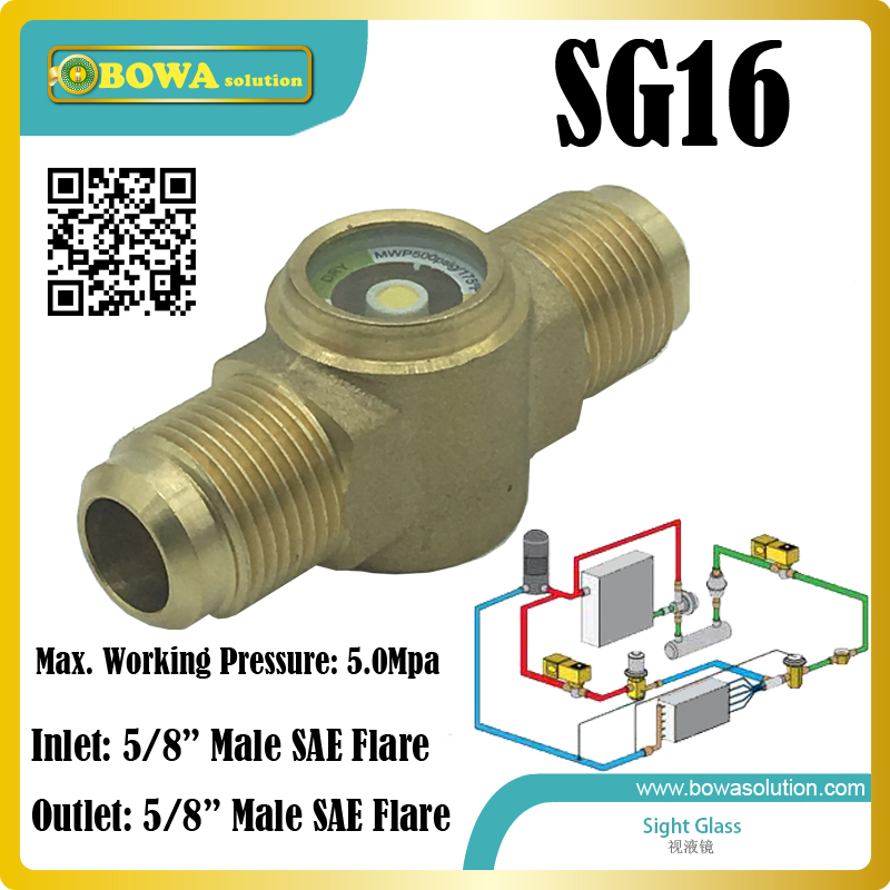 sight glass with 5/8 SAE flare connection installed in kinds of refrigeration circles for monitoring liquid refrigerant statuts 1 2 moisture monitors installed in liquid line of refrigeration system and air conditioner