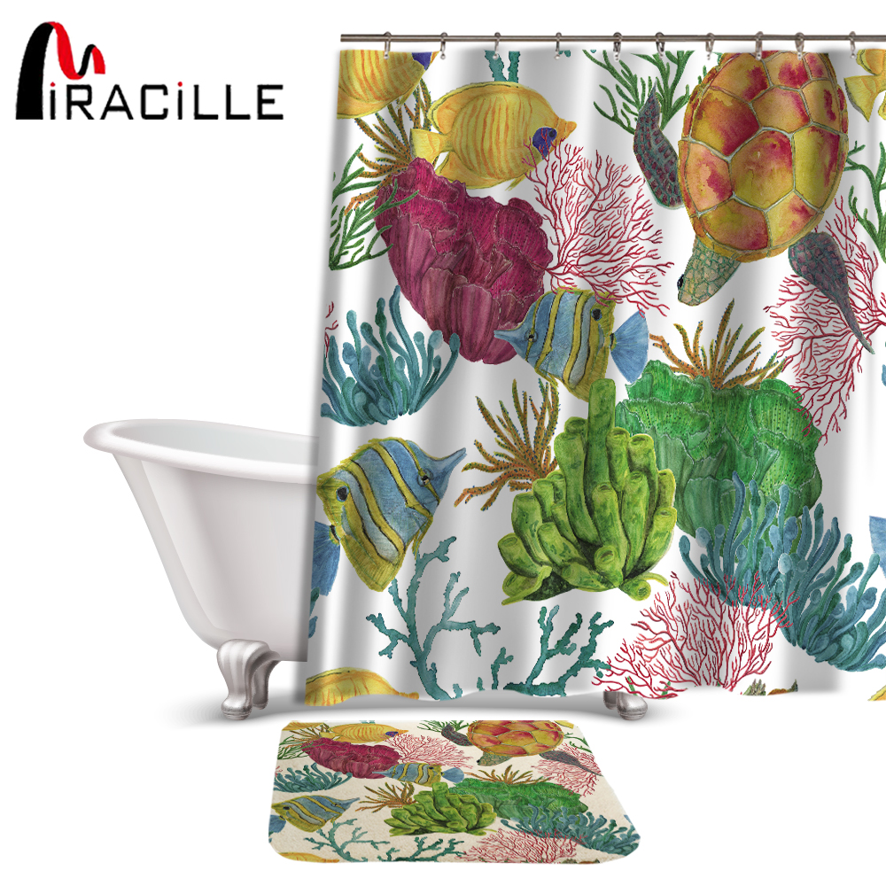 Miracille Bathroom Decor Colorful Sea Turtle Seaweed Tropical Fish Pattern Waterproof Shower Curtain Carpet for Bath and Toilet