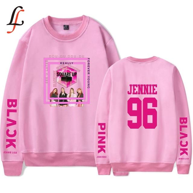 Sudadera sin capucha casual Lisa k pop de color negro para mujer harajuku Hip Hop moda mujer sudaderas y sudaderas ropa famosa Kpop