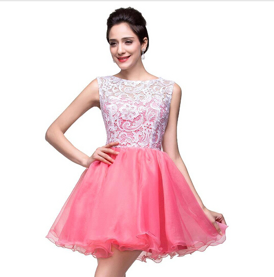 7341f2b2f07 Cheap Short Homecoming Dresses with Lace 2015 Lace Appliques Pink 8th Grade  Graduation Dresses 2015 Short Prom Dresses