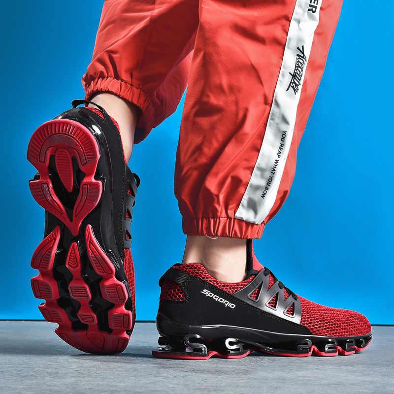 Erkek Ayakkabı Yetişkin Kırmızı Siyah Gri Rahat kaymaz Yumuşak Örgü erkek ayakkabısı Nefes Erkekler Sneakers koşu ayakkabıları Boyutu 36- 48