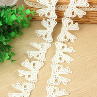 DoreenBeads 13 5m White Bowknot Lace Ribbon Tape Cotton Webbing Sewing Applique Supplies For Dress Hairband