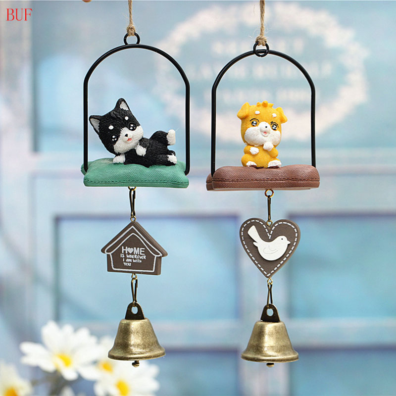 BUF Japanese-Style Dog Wind Chimes Antique House Decor Gift Windchimes Simple Metal Craft Hot Retro Hanging Decoration Dog