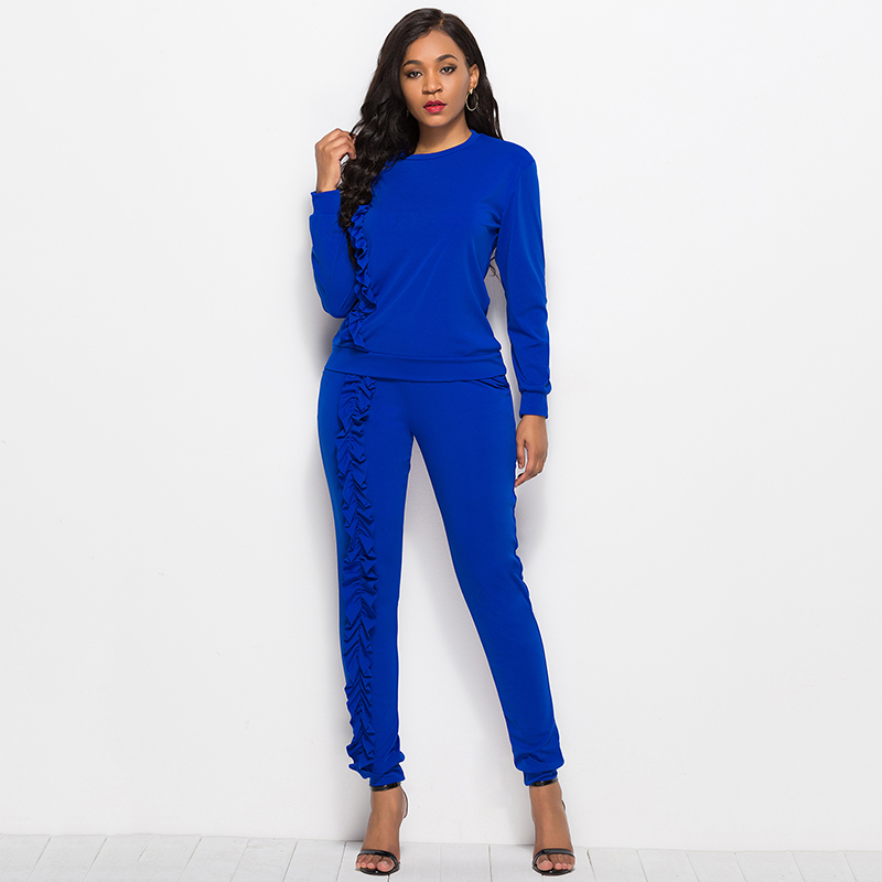 2019 Autumn New Solid Two Piece Sets Women Long Sleeve Round Neck Tops Trousers Ruffles Tracksuit Set 2 Piece Sets Ladies Suits 41