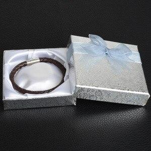 Image 2 - De Bijoux 18Pcs/lot 9*9Cm Silver Square Bow Paper Bracelet Bangle Wristwatch Jewelry Gift Box Paper boxes with ribbon favor box