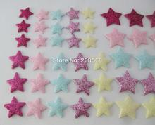 PANNWE Glitter felt Patches 150pcs 10MM/15MM/18MM Star appliques DIY craft scrapbooking accessories for jewelry/clothes