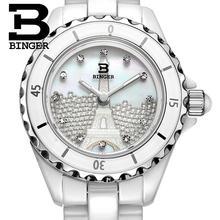 Suisse Binger montres en céramique Femmes de mode quartz montre Ronde strass montres 100 M Résistance À L'eau BG-8008L