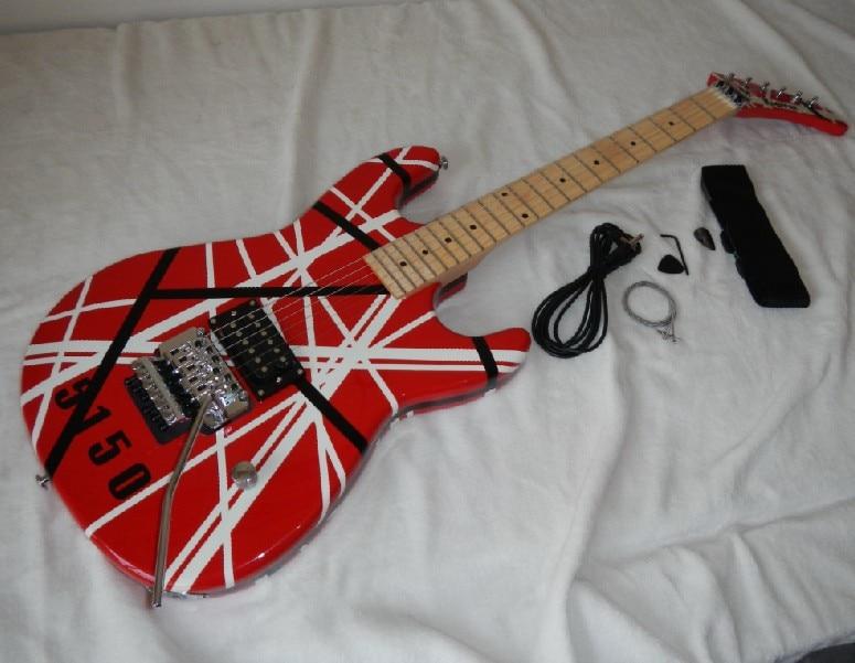 Livraison gratuite En Gros Marque kramer 5150 ROUGE et blanc série EVH ARI tremolo guitare Électrique