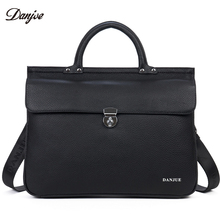 DANJUE Genuine Leather Men's Briefcase Business Office Laptop Bag Lawyer High Quality Designer Handbag shoulder bags totes