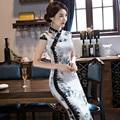 Vendas quentes Modernos Vestidos Branco Chinês Qipao Vestido Tradicional Chinês Qipao Impressão Vestido Longo