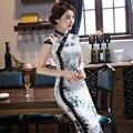 Ventas calientes Modernos Vestidos de Blanco Vestido Chino Qipao Tradicional Chino Qipao Impresión Vestido Largo