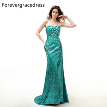 Forevergracedress Real Sample Evening Dress Mermaid Sweetheart Sleeveless Sequins Split Lace Up Long Formal Party Gown Plus Size