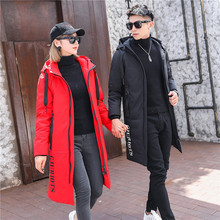 2018 New men and women couples outfit down jacket Youth mid-long winter warm coat High quality white duck down hooded coat цены онлайн