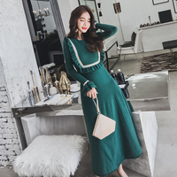New Fashion Autumn Winter Ladies Knitted Dress 2018 Vintage Long Flare Sleeve Ruffles Sweater Dress Warm Long Big Swing Dress