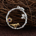 GZ 925 Silver Bird Pendant 100% Pure S925 Solid Thai Silver Purple Cubic Zircon Pendants for Women Jewelry Making