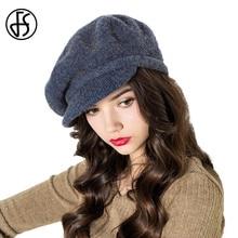 FS Vintage francés boina sombreros para las mujeres De invierno De lana  Gorra De fieltro azul marino De punto boinas sombrero ca. ad1913aa7ba