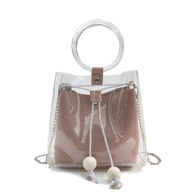 New Women Transparent Handbags Small Drawstring Bucket Bag Round Wristband Chain Totes Beach Leather