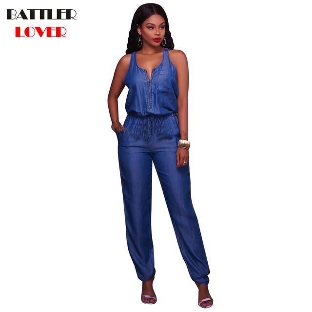 2018 Vest Jean Jumpsuits Women Body Feminino Combinaison Femme