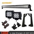 Auxmart для Jeep Wrangler JK 07-15 52 ''300 Вт Combo Луч СВЕТОДИОДНЫЕ бар + 2x4'' 18 Вт Spot CREE чипы Светодиодные лампы + Крепления Кронштейна