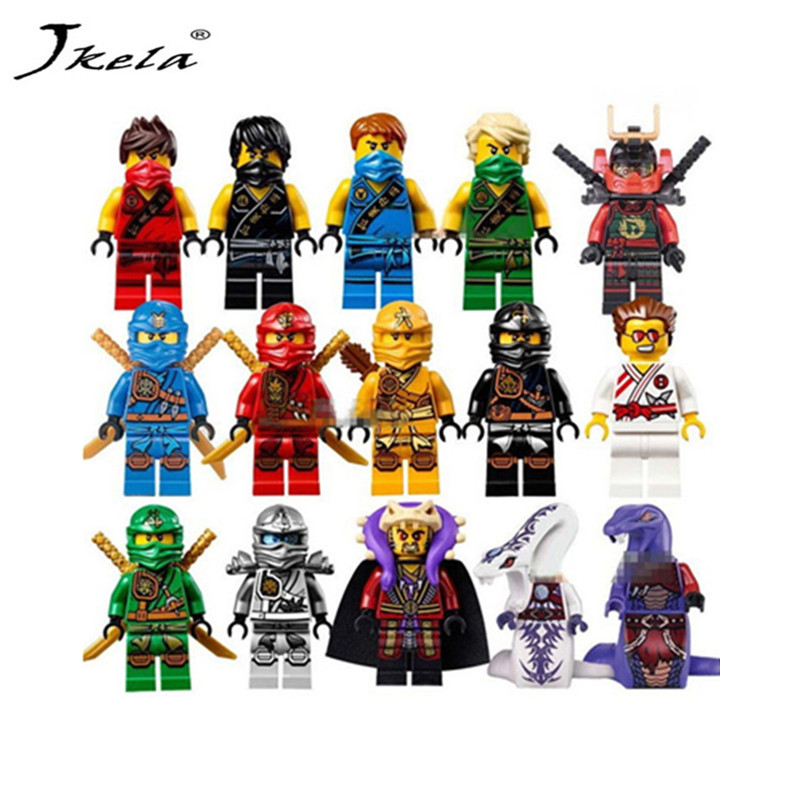 [Jkela] lot Ninja Figure Blocks Kai Jay Cole Zane Nya Lloyd  Compatible With Legoingly Ninjagoed TOYS For Children Modle Bricks 2018 hot ninjago building blocks toys compatible legoingly ninja master wu nya mini bricks figures for kids gifts free shipping