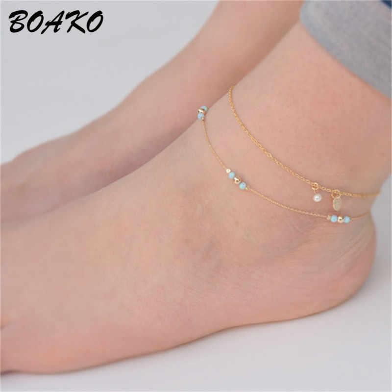 BOAKO シンプルなビーズアンクレット素足かぎ針編みサンダルフットジュエリー二重層足首のブレスレットゴールドリンクチェーン足ブレスレット