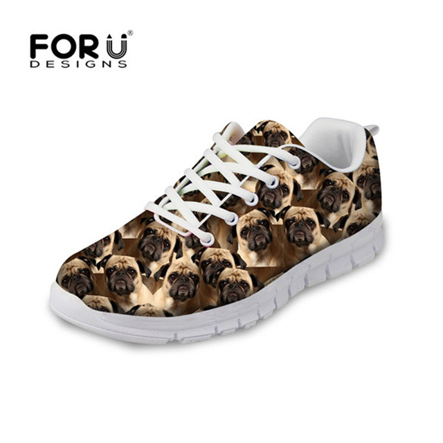 4618ef37d FORUDESIGNS Casual Women Flat Shoes 3D Animal Pug Dog Mesh Sneakers for  Girls Female Lightweight Summer Shoes Ladies Lace-up
